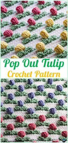 Crochet Pop Out Tulip Stitch Pattern - Crochet Flower Stitch Free Patterns