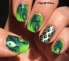 "Just check out the best and amazing looking ""Peacock Nails Designs"" right from this post! We are sure all the crazy fans of nail art designs will like these . Peacock Nail Designs, Peacock Nail Art, Feather Nail Art, Cute Nail Designs, Peacock Design, Peacock Theme, Peacock Wedding, Fabulous Nails, Gorgeous Nails"
