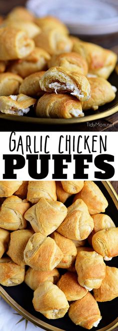 Garlic Chicken Puffs are a family favorite appetizer! Creamy garlic chicken inside a croissant! What's not to love? Always a big crowd pleaser! Print the full recipe at TidyMom.net