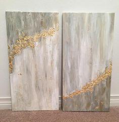 Beautiful grey and gold canvas art kendin yap kanvas, tuval sanatı, soyut d Abstract Painters, Abstract Wall Art, Painting Abstract, Diy Wall Art, Diy Art, Gold Canvas, Grey Canvas Art, Gold Leaf Art, Acrylic Art