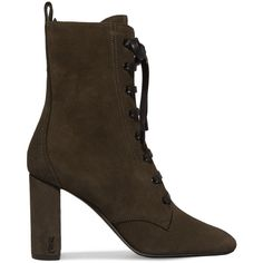Saint Laurent LouLou lace-up suede ankle boots (£685) ❤ liked on Polyvore featuring shoes, boots, ankle booties, suede lace up booties, laced up boots, high heel boots, lace-up bootie and olive green booties