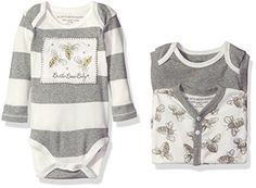 Burts Bees Baby Girls 3Pack Organic Watercolor Bodysuits Heather Grey 36 Months *** You can find more details by visiting the image link.