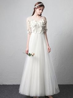 Grace love romantic illusion neckline butterflies simple wedding dress with half sleeves Simple Wedding Dress With Sleeves, Lace Beach Wedding Dress, Wedding Gowns, One Shoulder Wedding Dress, Dresses With Sleeves, Half Sleeves, Wedding Bells, Plus Size Brides, Plus Size Gowns
