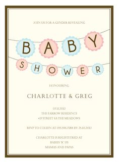 Gender neutral baby shower invite