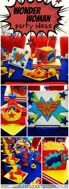 Check out this Wonder Woman girl superhero birthday party! See more party ideas at Catchmyparty.com!