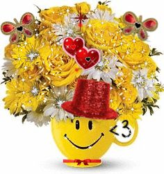 Smiley Bouquet flowers animated friend gif blossom bloom smiley greeting for you Birthday Greetings, Birthday Wishes, Happy Birthday, Smiley Emoticon, Funny Smiley, Smileys, Animation, Glitter Graphics, Happy Smile
