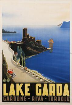 Vintage Travel Poster - Lake Garda - Garda, Riva, Torbole - Italy - 1939.