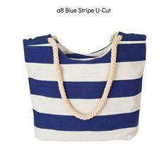 CANVAS STRIPES SHOULDER TOTE BEACH BAG • 19 COLOR DESIGNS