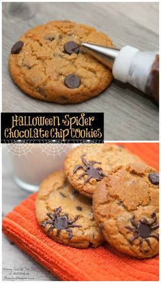 Super easy chocolate chip spider cookies by Mommy Outside the Box Halloween Drinks, Halloween Treats, For Your Party, Spider Cookies, Favorite Holiday, All Holidays, Sleepover, Recipes, Birthday