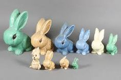 sylvac rabbits in soft 30's-40's hues of green, beige, blue, cream (please follow minkshmink on pinterest)