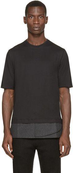 Giuliano Fujiwara Black Pinstripe Trim T-Shirt