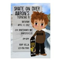Invitation anniversaire skateboard printable skateboard party skateboard party personalized invitations show a young boy and his skateboard standing stopboris Choice Image