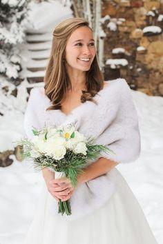 Light Gray, Silver Wedding Bridal Fur Stole Wrap Shawl Cape