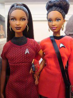 Uhura Barbie and Barbie Basics dressed as Uhura