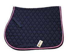"All Purpose Floral Quilted Cotton English Saddle Pad Navy Blue with Pink Piping by AJ. $20.00. Color: Navy blue with pink piping. Spine: 22"". Drop: 20"". All purpose 100% cotton saddle pad. Cotton shell and lining with 2"" floral quilting, foam inner cushioning. Nylon Velcro billet straps and girth loops to keep it in place."