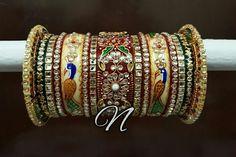 Bridal Chura.... India Jewelry, Gold Jewelry, Women Jewelry, Bridal Bangles, Wedding Jewelry, Bridal Chura, Wedding Chura, Chuda Bangles, Nose Ring Designs