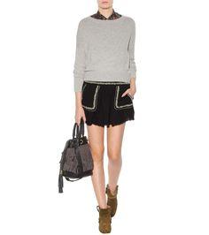 Vittoria dark navy and beige embroidered cotton miniskirt
