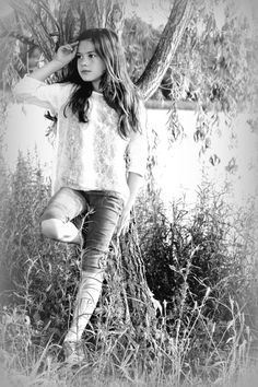black and white photography ~ girl leaning on tree ~ child pics ~ long hair ~ natural light / lighting session ~ portrait ~ outdoor photo shoot ideas ... - april allen P H O T O G R A P H Y ~ Chesapeake VA ~ Hampton Roads photographer