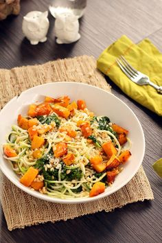 Roasted Butternut Squash Zucchini Pasta with Kale, Apricots and Wheatberries   Inspiralized