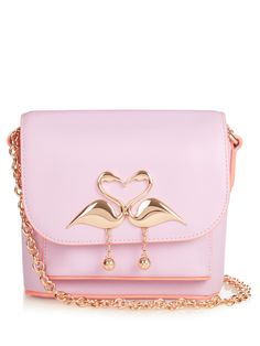 Sophia Webster 'claudie' Flamingo Charm Leather Flap Bag In Orchid Bouquet Pink Shoulder Bags, Crossbody Shoulder Bag, Shoulder Handbags, Leather Crossbody Bag, Leather Purses, Leather Shoulder Bag, Leather Handbags, Sophia Webster Mini, Pink Handbags