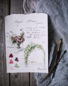 «Один из любимых моментов в подготовке свадьбы... Эскизы Фото @lena_eliseev_a #flowergirl_authentic #how_the_beauty_start Автор эскиза @alexandra_shevela»