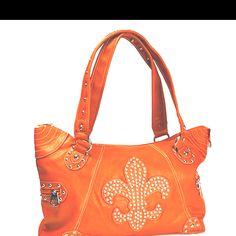 orange purse - really, really, really like the fleur death lis.