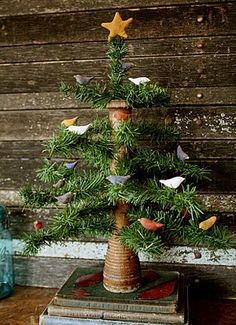 ANOTHER great idea of hers.....look at this little tree she made with an old bobbin!  It's AWESOME!!! :-D  ---Rock River Stitches: Prim Wooden Beehive Bobbin Bird Tree