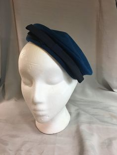 1d38edef Vintage Dark Blue Wool Pill Box Hat by Merrimac Hat Corp with Navy Blue Bow  and Ribbon Trim Made in USA Medium Inside Circumference 20.75