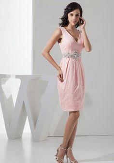 column knee length v-back v-neck satin sleeveless bridesmaid dress - Whoboxdress.com    Inspirations | Bride & Groom