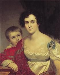 Portrait of A. I. Molchanova with Daughter - Orest Kiprensky