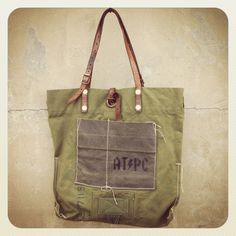 Vintage remake military canvas tote bag