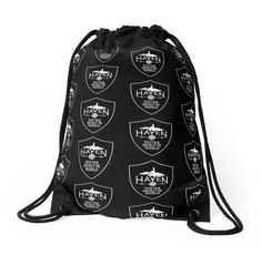Haven Syfy Inspired Drawstring Bag | Haven Keep Calm Black Badge Logo