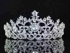 Vintage Styled Clear Rhinestone Crystal Tiara w Hair Combs Bridal Pageant T1506 | eBay