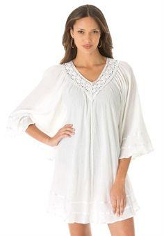 Roamans Women's Plus Size Gauze Angel Coverup (White,1X)