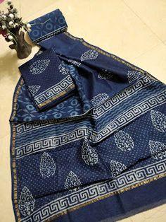 Indigo Chanderi Silk Dress Fabric With Dupatta - Salwar Kameez Dress Material For Women Chanderi Suits, Anarkali Suits, Churidar Suits, Create Online Store, Kurti Embroidery Design, Silk Suit, Cotton Silk, Printed Cotton, Indian Designer Wear