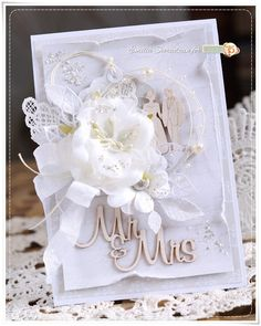 Scrapbooking, handmade cards and papercrafts by Lady E. Vintage, chipboards, shabby and more. Homemade Wedding Cards, Wedding Cards Handmade, Wedding Gift Tags, Wedding Anniversary Cards, Homemade Cards, Pretty Cards, Love Cards, Scrapbook Cards, Scrapbooking