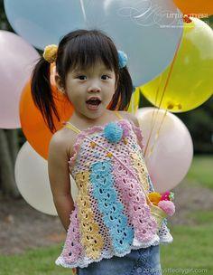 Ice Cream Social. Crochet Apron Top Pattern for Kids