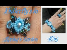Butterfly's in Spring's Garden Ring Beading Tutorial by HoneyBeads - YouTube