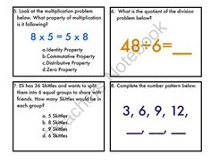 Multiplication & Division: Facts and Meanings-Made to work with EnVision Topic 1 from Mrs.Hayden on TeachersNotebook.com -  (7 pages)  - This is a set of 20 task cards to use as a review for basic multiplication and division facts. Areas the cards cover are...  -Multiplication and Division facts -Properties of multiplication -Arrays -Fact Families -Number Patterns -Repeated addition  Set c