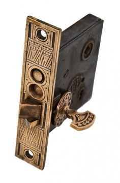 """original 19th century antique american eastlake style """"crisscross"""" pattern residential entrance or vestibule door mortise lock with intact thumb twist and matching rosette"""