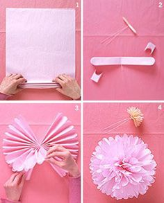 Making tissue paper pom poms! Easy and they are very pretty!