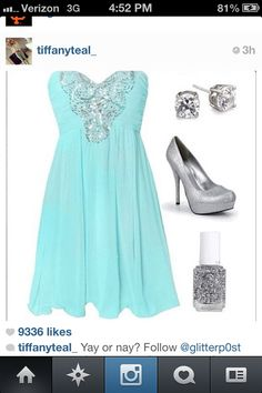 A lovely Tiffany teal blue dress with silver
