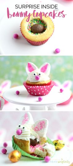 Adorable Bunny Cupcakes with a Surprise Inside are what you need to make this Easter! Easy and fun and the perfect dessert idea for any spring party or gathering. #cupcakes #Easterdesserts #bunnycupcakes