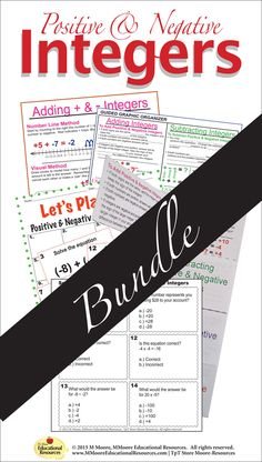 Do you want your students to really understand Positive & Negative Integers? Then this is The Ultimate BUNDLE to help your students understand all operations with positive & negative integers with this packet of activities! School Resources, Math Resources, Math Skills, Math Lessons, 9th Grade Math, Negative Integers, Secondary Math, Free Math, Math Facts