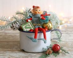 Vintage Style Christmas Decoration, Vintage Elf Christmas Decor, Folk Art Christmas, enamel Cup, Greenery