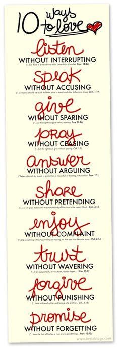 Love Listen Speak Give Pray Answer Share Enjoy Trust Forgive Promise