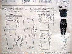 Blog 이미지 뷰어 Clothing Patterns, Dress Patterns, Sewing Patterns, Pajama Pattern, Pants Pattern, Bodice Pattern, Japanese Sewing, Wide Pants, Diy Dress