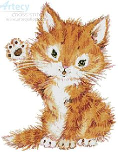 Hello Kitten - cross stitch pattern designed by Tereena Clarke. Category: Cats.