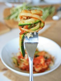 "Want pasta but trying to cut back on grain-based carbs? Then try this Zucchini ""No Pasta"" Pasta. Yum! Yum! Yum!"