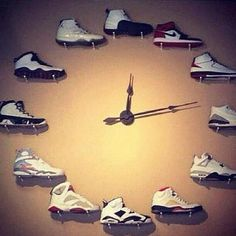 Clock made of Air Jordans arranged 1 thought 12! Genius!
